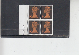 GRAN BRETAGNA  1971 - Unificato 616 (quartina) -  Elisabetta - Nuovi