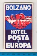 Bozen Bolzano Hotel Posta & Europa Etichetta Adesiva Hotel Tickets - Adesivi Di Alberghi