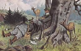 Jagd Chasse Hunting Deer Reh  Hirsch Hunter Jäger Arthur Thiele Humor Old  Postcard. Cpa. 1910 - Hunting