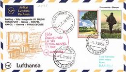 32938. Carta First Fligth, Volo Inaugurale SESTRI PONENTE (Ge) 1968. Primer Vuelo NAPOLES - Frankfurt - 6. 1946-.. Repubblica