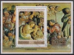 Bf. 174A Manama 1972 Christmas Natale Adorazione Dei Pastori. Bassorilievo Rinascimentale Perforato Preoblt. - Manama