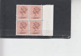 GRAN BRETAGNA  1976- Unificato  782a -  (quartina)  -  Elisabetta - Nuovi