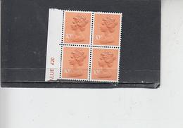 GRAN BRETAGNA  1976- Unificato  782d -  (quartina)  -  Elisabetta - Nuovi