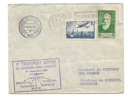 (C09) Y&T N°PA9+343 - LETTRE PARIS =>PAYS BAS 1937 TARIF 1-20 GRS DU 01/08/1937 (+ 5CTS) MARQUE 1ER TRANSPORT SS SURTAXE - France