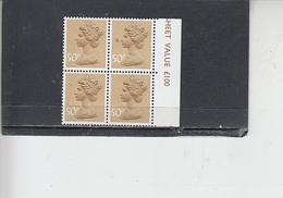 GRAN BRETAGNA  1977- Unificato  821 -  (quartina)  -  Elisabetta - Nuovi