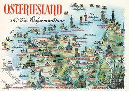 1 MAP Of Germany * 1 Ansichtskarte Mit Der Landkarte - Ostfriesland Und Die Wesermündung * - Landkarten