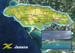 1 MAP Of Jamaica * 1 Ansichtskarte Mit Der Landkarte Der Karibikinsel Jamaika * - Landkarten