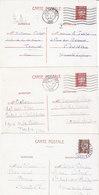 3 CARTES DE CORRESPONDANCE TYPE PETAIN.1942.1- 80CTS ET 2- 1.20FR CLAIR ET FONCE.T.B.ETAT - Cartes Postales Types Et TSC (avant 1995)