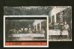 Ajman 1972 Bf. L'Ultima Cena Cenacolo The Last Supper Affresco Quadro Dipinto Leonardo Da Vinci CTO Perf. - Ajman