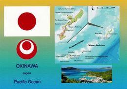 1 AK Okinawa * Flagge Von Japan, Wappen Und Landkarten Und Eine Ansicht Von Okinawa * - Landkarten