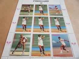 Sheetlet Paraguay 1986 Tennis Stars Players Red Overprint - Paraguay