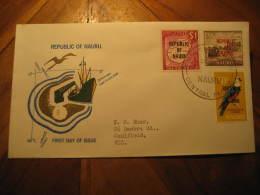 1968 To Caulfield Victoria Australia 3 Overprinted Stamp On FDC Cancel Cover NAURU - Nauru