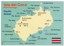 1 Map Of Isla Del Coco / Costa Rica * 1 Ansichtskarte Mit Der Landkarte Von Der Cocos Insel Im Pazifik * - Landkarten