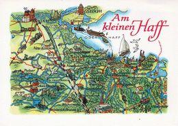 1 Map Of Germany * 1 Ansichtskarte Mit Der Landkarte - Am Kleinen Haff Bei Usedom - Mecklenburg-Vorpommern * - Landkarten
