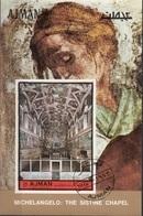 Ajman 1972 Bf. 406B Michelangelo Cappella Sistina - Sistine Chapel Sheet Imperf. CTO - Ajman