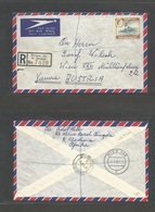 BC - Rhodesia. 1960 (4 July) Rh + Nyassaland. Chingola - Austria, Wien (8 July) Registered Air Single 2sh 6d Fkd Envelop - Unclassified