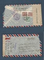 China - XX. 1945 (9 Febr) Sha Ping Pa - USA, Ann Harbour. Michigan (17 March). Via Miami, Flo (15 March) Registered Reve - Cina