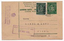 1933 YUGOSLAVIA, CROATIA, SLAVONSKA POZEGA TO VIENNA, AUSTRIA, TPO SLAV POZEGA-NOVA KAPELA NO 229 - Yugoslavia