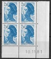 France -1981 - Coin Daté 10/11/81 - Type Liberté De Gandon 2 F.30 Bleu -Y&T N°2189 ** Neuf Luxe 1er Choix - 1980-1989
