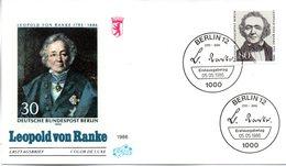 """Westberlin Schmuck-FDC Mi. 759 """"100. Todestag Von Leopold Von Ranke"""" ESSt 5.5.1986 BERLIN 12 - FDC: Sobres"""