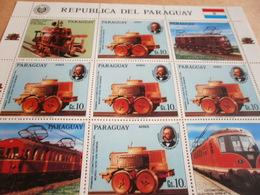 Sheetlet Paraguay 1986 Trains Locomotives - Paraguay