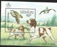 V) 1986  SWEDEN, DOGS, POSTES LAO, BRITTANY SPANIELS, SOUVENIR SHEET, MNH - Sweden