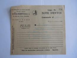 1940 Les Usines De Keyn Frères Bruxelles Fabrique De Couleurs Vernis & émaux Note D'envoi - Droguerie & Parfumerie