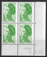 France -1982 - Coin Daté 5/6/82 - Type Liberté De Gandon 1 F.60 Vert -Y&T N°2219 ** Neuf Luxe 1er Choix - 1980-1989