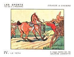 """Sp CC G L/  Buvards Les Sports """"Chasse A Courre""""   Galeries Lafayette (Format 18 X 14) (N= 4) - Sport"""