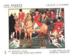 """Sp CC G L/  Buvards Les Sports """"Chasse A Courre""""   Galeries Lafayette (Format 18 X 14) (N= 5) - Sport"""