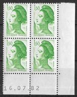 France -1982 - Coin Daté 16/07/82 - Type Liberté De Gandon 1 F.60 Vert -Y&T N°2219 ** Neuf Luxe 1er Choix - 1980-1989