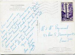 ANDORRE FRANCAIS CARTE POSTALE DEPART ANDORRE-LA VIEILLE 2-9-1960 POUR LA FRANCE - Cartas