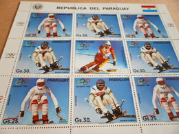 Sheetlet Paraguay 1988 Calgary Olympics Issued 1987 - Paraguay
