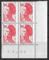 France -1982 - Coin Daté 4/05/82 - Type Liberté De Gandon 1 F.80 Rouge -Y&T N°2220 ** Neuf Luxe 1er Choix - 1980-1989
