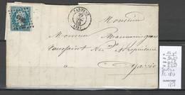 France - Lettre De SARTENE - CORSE - PC2813 - 1858 - Postmark Collection (Covers)