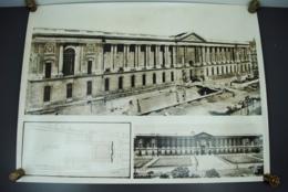 Grande Photo Panoramique Travaux De Voirie LE LOUVRE Paris 75  Circa 1960 Photographie Ancienne - Places