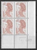 France -1982 - Coin Daté 14/4/82 - Type Liberté De Gandon 60 C. Brun-rose -Y&T N°2239 ** Neuf Luxe 1er Choix - 1980-1989