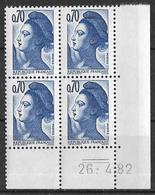 France -1982 - Coin Daté 26/4/82 - Type Liberté De Gandon 70 C. Bleu-violet -Y&T N°2240 ** Neuf Luxe 1er Choix - 1980-1989