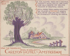 Hôtels - Publicité - Hotel In Holland - Carlton Hotel Amsterdam - August 1934 - Illustrateur - Hotels & Restaurants