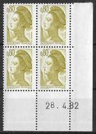 France -1982 - Coin Daté 28/4/82 - Type Liberté De Gandon 80 C. Brun-olive -Y&T N°2241 ** Neuf Luxe 1er Choix - 1980-1989