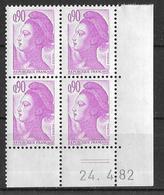 France -1982 - Coin Daté 24/4/82 - Type Liberté De Gandon 90 C. Violet-clair -Y&T N°2242 ** Neuf Luxe 1er Choix - 1980-1989