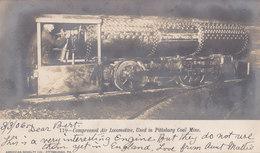 RPPC REAL PHOTO POSTCARD COMPRESSED AIR LOCOMOTIVE PITTSBURGH COAL MINE 1906 - Pittsburgh