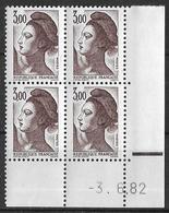 France -1982 - Coin Daté 3/6/82 - Type Liberté De Gandon 3,00 F. Brun-violet -Y&T N°2243 ** Neuf Luxe 1er Choix - 1980-1989