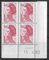 France -1982 - Coin Daté 15/4/82 - Type Liberté De Gandon 4,00 F. Rouge-carmin -Y&T N°2244 ** Neuf Luxe 1er Choix - 1980-1989