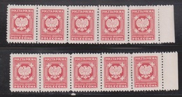 POLAND Scott # O28 MNH - 2 Strips Of 5 - 1 Stamp Creased - 1944-.... Republic