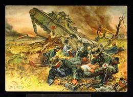 12405-GERMAN EMPIRE-MILITARY PROPAGANDA POSTCARD GERMAN SOLDIER In ACTION.WWII.DEUTSCHES REICH.POSTKARTE.carte Postale - Allemagne