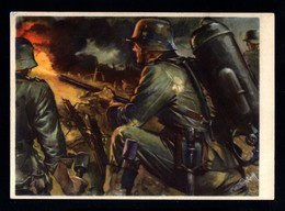 16551-GERMAN EMPIRE-MILITARY PROPAGANDA POSTCARD GERMAN SOLDIER In ACTION.WWII.DEUTSCHES REICH.POSTKARTE.carte Postale - Briefe U. Dokumente