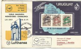 URUGAY CC PRIMER VUELO MONTEVIDEO CASABLANCA LUFTHANSA 1971 - Uruguay