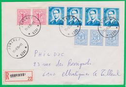 Brief - Doc. Relais JONCRET - RECOMMANDE  Baudouin 1069B Phosf.  7-1975 GERPINNES - Cachets à étoiles