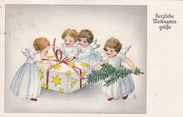 AK Herzliche Weihnachtsgrüße - Engel Tannenzweig Geschenk - Ca. 1950 (41428) - Other